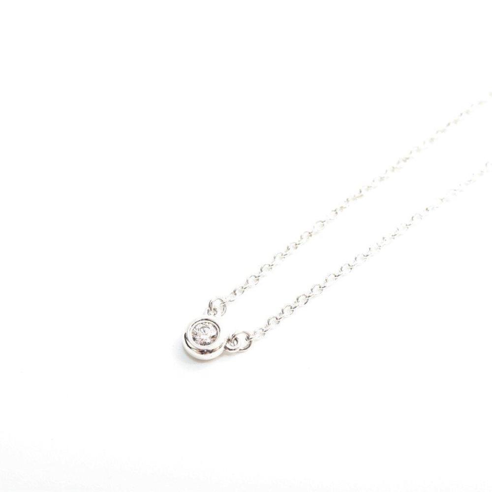 Tiffany Diamonds By The Yard Silver 925 Diamond Women's Casual,Elegant Chain Necklace Carat/0.05 (Silver)