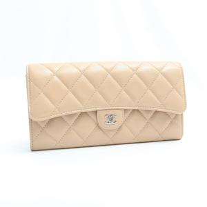 Chanel Matelasse A80758 Y01864 21209 Women's Caviar Leather Long Wallet (bi-fold) Beige