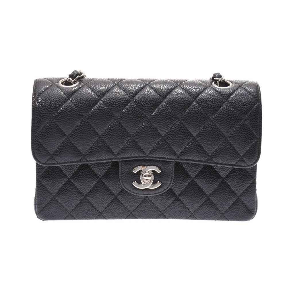 Chanel Matrasse Chain Shoulder Bag Black SV Hardware Women's Caviar Skin Double Flap 23 cm CHANEL Galler Used Ginza