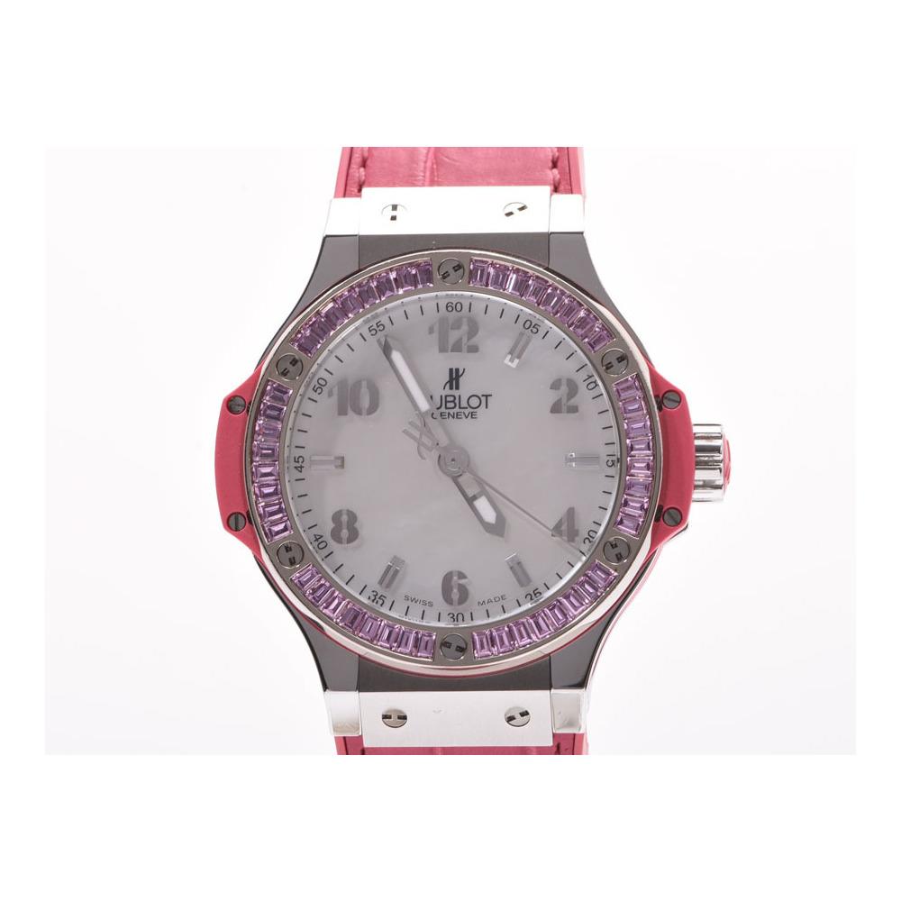 Hublot Big Bang Tutti Frutti Pink Sapphire Bezel Shell Dial 361. SP.6010.LR.1993 Women's SS / Leather Quartz Wrist Watch A Rank Mint HUBLOT Box Gala Used Ginza