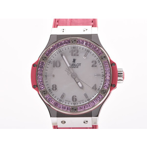 Hublot Big Bang Tutti Frutti Pink Sapphire Bezel Shell Dial 361. SP.6010.LR.1993 Women's SS / Leather Quartz Wrist Watch A Rank Mint HUBLOT Box Gala Used Ginza