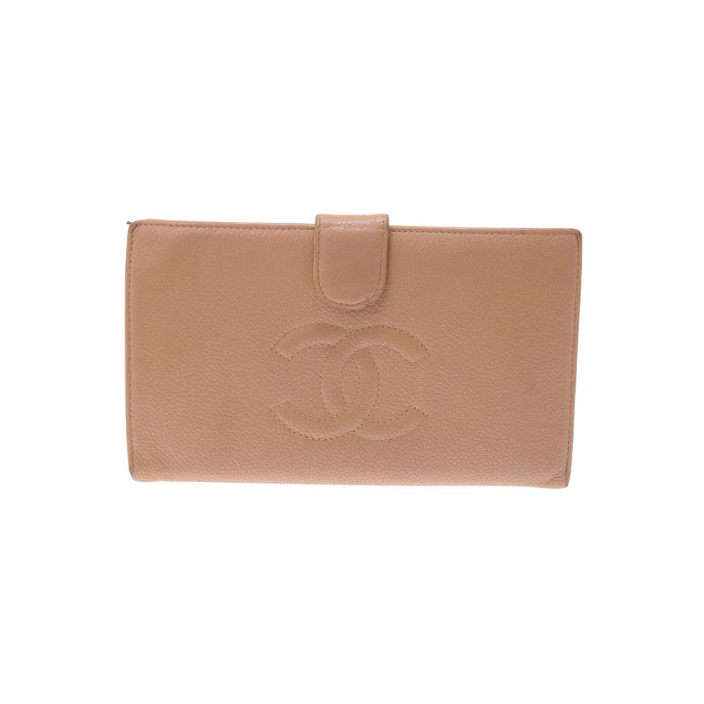 シャネル(Chanel) シャネル 二ツ折がま口長財布 ベージュ レディース キャビアスキン Cランク CHANEL 中古 銀蔵