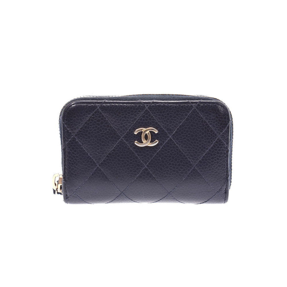 Chanel Matrasse Card Case Navy Ladies Men's Caviar Skin Coin B Rank CHANEL Galler Used Ginza