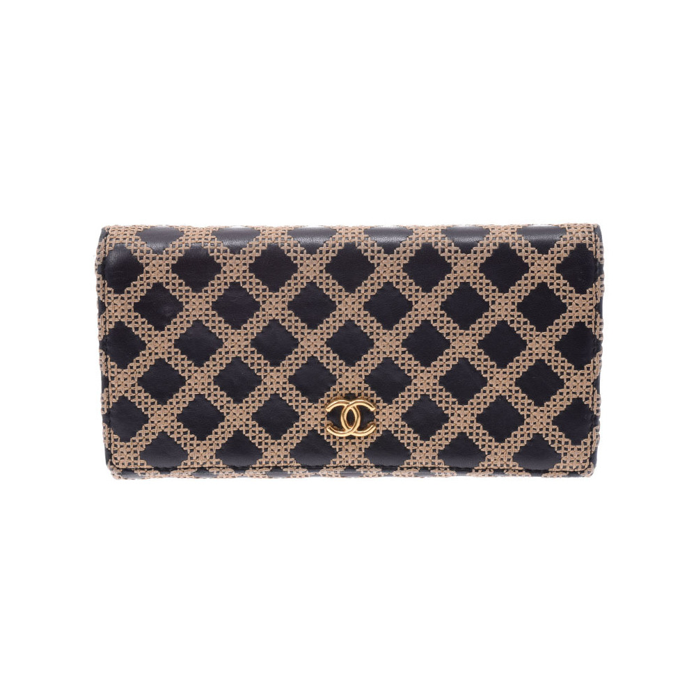 Chanel Nets Fold Purse Black / Beige Ladies Men's Lambskin B Rank CHANEL Box Used Ginza