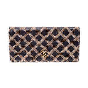 シャネル(Chanel) シャネル 二ツ折長財布 黒/ベージュ系 レディース メンズ ラムスキン Bランク CHANEL 箱 中古 銀蔵
