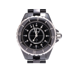 シャネル J12 33mm 黒文字盤 12Pダイヤ H1625 旧バックル 白針 メンズ レディース 黒セラ クオーツ 腕時計 Aランク CHANEL 中古 銀蔵