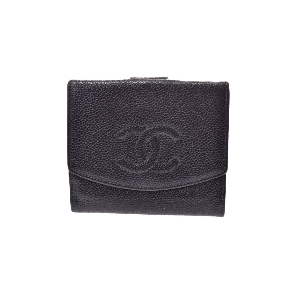 Chanel Double Sided Wallet Black Ladies' Caviar Skin B Rank CHANEL Used Ginza