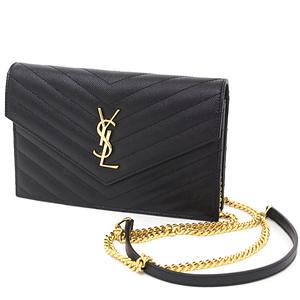 Saint Laurent SAINT LAURENT PARIS Envelope chain wallet black gold hardware grain powder textured quilted leather 393953