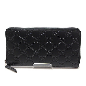GUCCI Gucci striped leather round zipper long wallet black like 307987 new