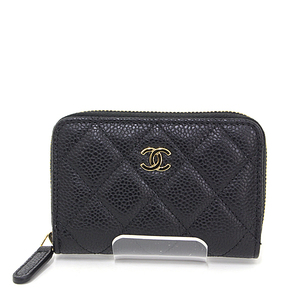CHANEL classic zip coin purse black gold hardware caviar skin A69271 changer cocomark matrasse mini wallet