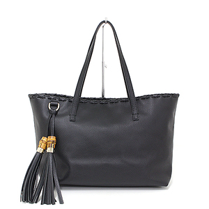 Gucci GUCCI Bamboo Tassel Leather Tote Bag grain leather black 354665 new as well