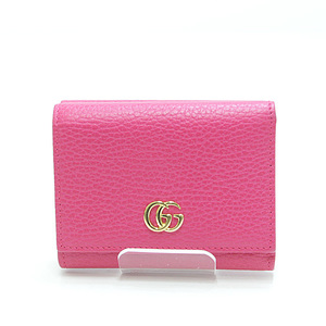 GUCCI Gucci Petit Marmont Two-folded wallet 474746 Pink calf leather Like new