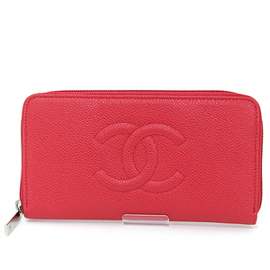 CHANEL long zip wallet red caviar skin A50071 round zipper coco mark similar to new
