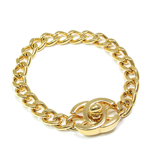 Chanel CHANEL Coco Mark Turnlock Chain Bracelet Gold Metal 19cm 97P