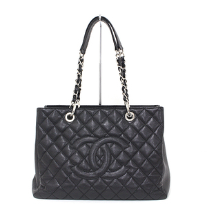 CHANEL reprinted chain tote bag caviar skin black silver hardware serial seal Yes coco mark cambon quilting