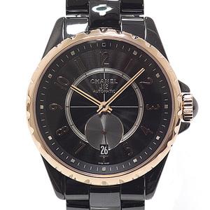 CHANEL Chanel Men's Watch J12 H3838 Ceramic × PG Black (Black) Dial Automatic
