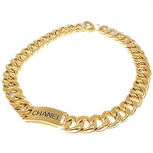 CHANEL logo chain belt gold black metal 69.5cm