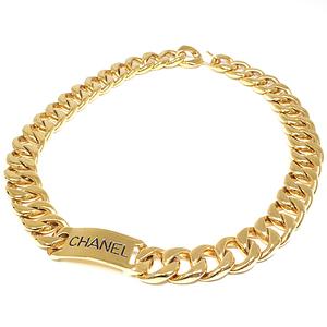 CHANEL logo chain belt gold black metal 69.5cm