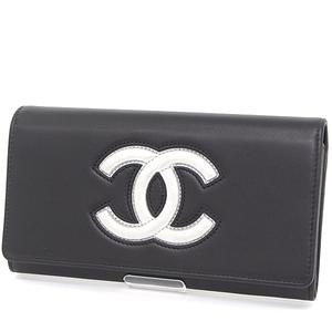 CHANEL long flap wallet black silver lambskin A80896 two fold koko mark