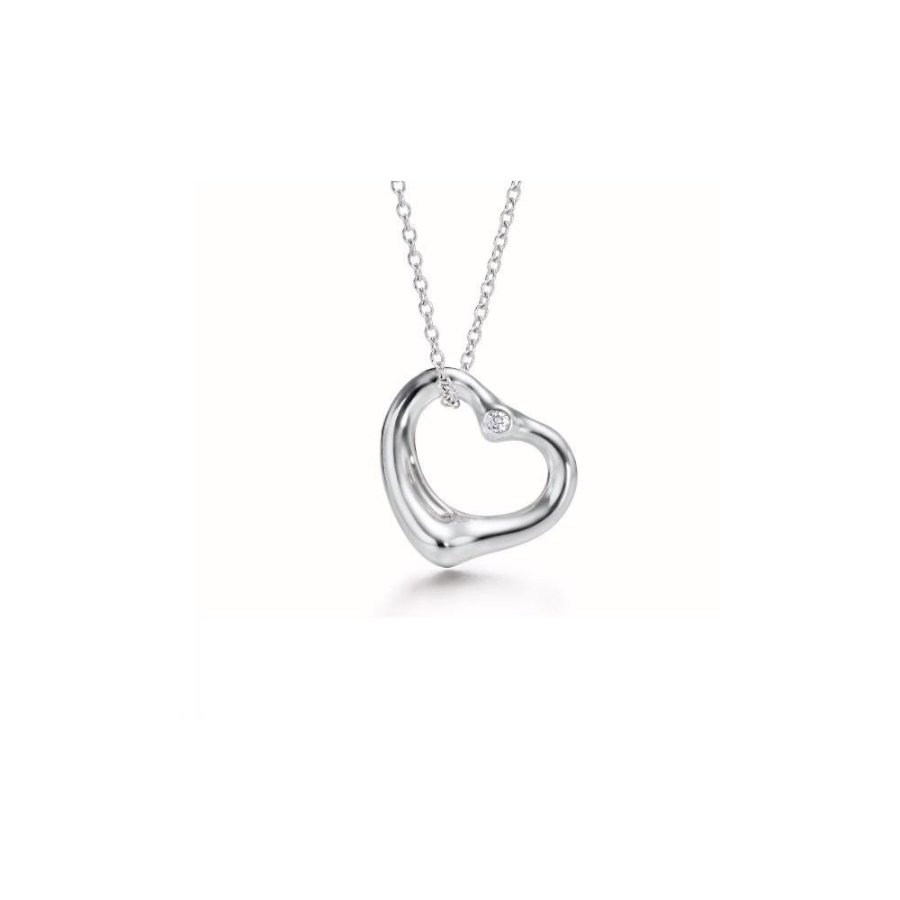 ティファニー(Tiffany) オープン・ハート シルバー925 ダイヤモンド レディース エレガント ペンダント (シルバー)