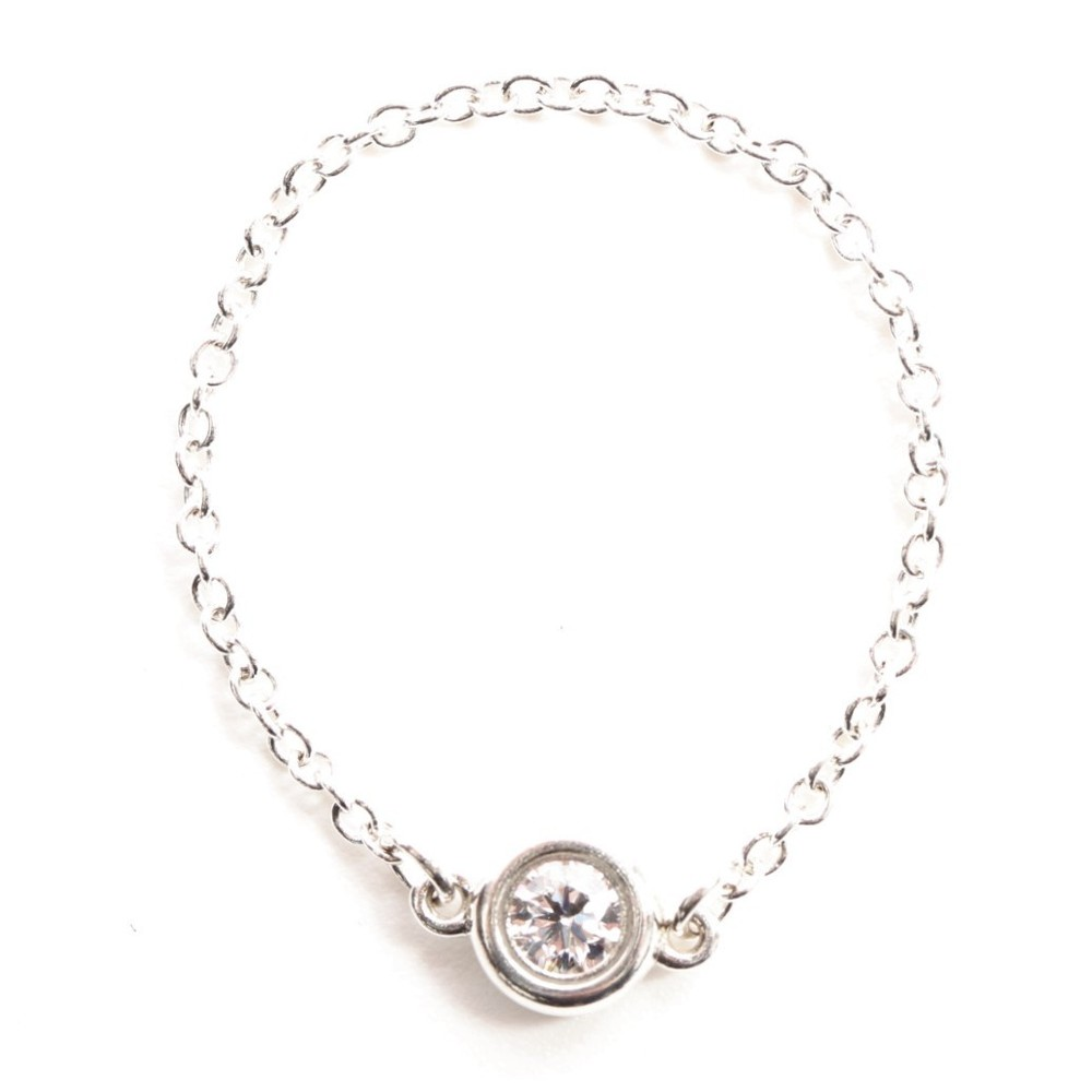 Tiffany By The Yard Silver 925 Diamond Band Ring Silver