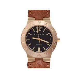 ブルガリ ディアゴノ 黒文字盤 LC29G レディース YG/革 自動巻 腕時計 Aランク 美品 BVLGARI 中古 銀蔵