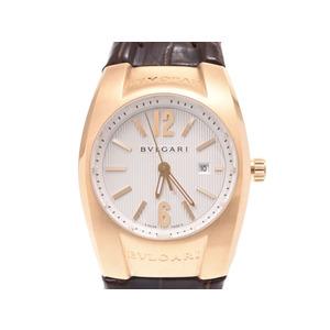 ブルガリ エルゴン EG30C6GLD 白文字盤 レディース YG/革 クオーツ 腕時計 Aランク 美品 BVLGARI ギャラ 中古 銀蔵