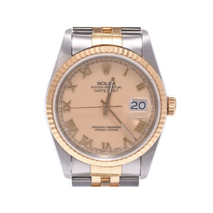Rolex Datejust Champagne Dial 16233 L # Men's SS / YG Automatic Watch A Rank Beauty Product ROLEX Used Ginzo