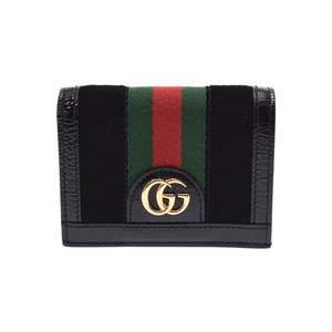 Gucci Offidia Two-Fold Mini Wallet Black Ladies Suede / Patent Card Case Unused Beauty Product GUCCI Box Used Ginzo