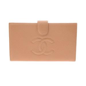 シャネル(Chanel) シャネル がま口長財布 ベージュ レディース キャビアスキン ABランク CHANEL ギャラ 中古 銀蔵