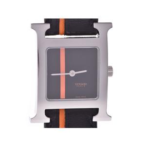 エルメス ラムシス 黒文字盤 HH1.210 レディース SS/革 クオーツ 腕時計 Aランク HERMES 中古 銀蔵