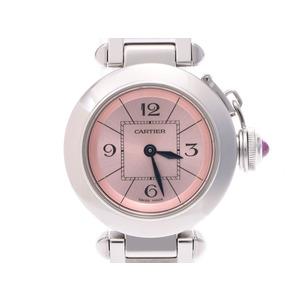 カルティエ ミスパシャ ピンク文字盤 レディース SS クオーツ 腕時計 Aランク 美品 CARTIER 中古 銀蔵