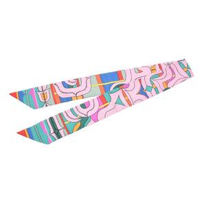 エルメス(Hermes) エルメス ツイリー ピンク系 幾何学模様 レディース シルク100% Aランク 美品 HERMES 箱 中古 銀蔵