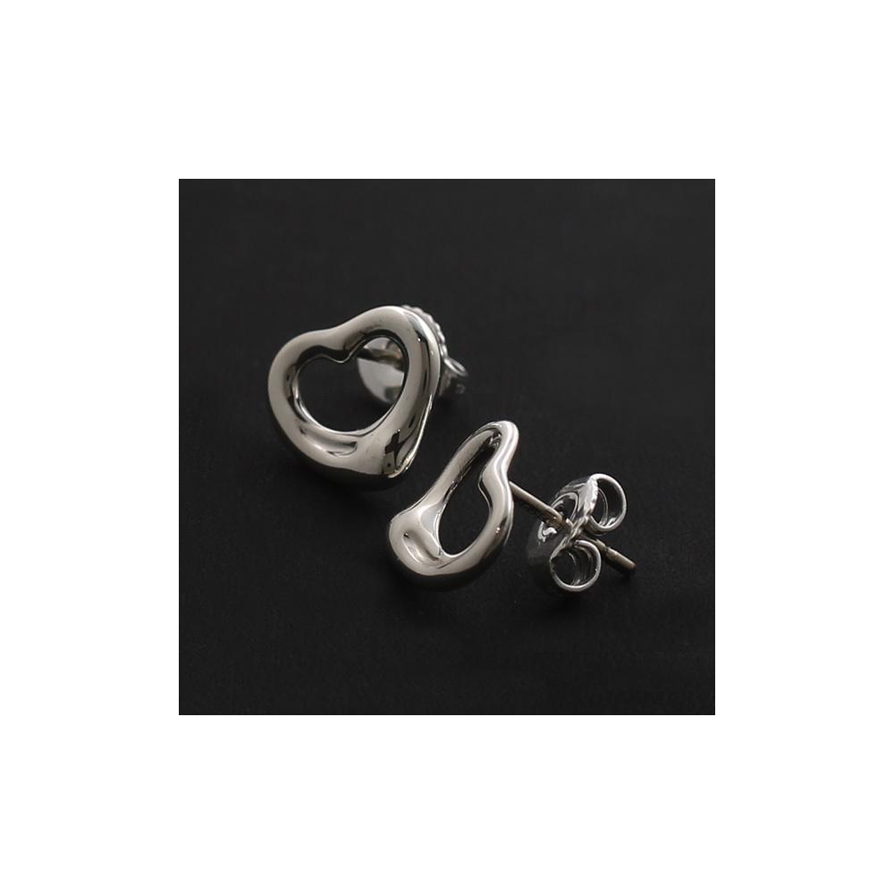 Tiffany Open Heart Silver 925 Stud Earrings Silver