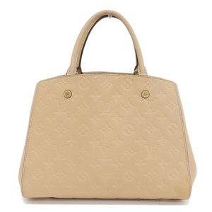 Genuine LOUIS VUITTON Louis Vuitton Anplant Montaigne Handbag Beige Bag Leather