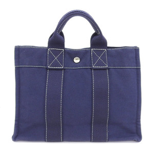 HERMES Hermes Deauville PM Tote Handbag Navy Bag Leather
