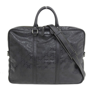 Genuine GUCCI Gucci GG Imprint 2way Briefcase Shoulder Business Bag Black Silver Hardware Leather