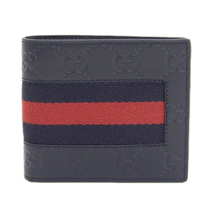 Genuine GUCCI Gucci Sima Leather New Web Two-folded Wallet Navy Model No .: 408826