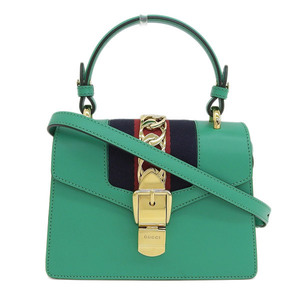 Genuine GUCCI Gucci Silvi Mini Chain 2WAY Shoulder Green 470270 Bag Leather