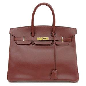 Genuine HERMES Hermes Birkin 35 Cush Bell Rouge Gold Hardware □ F stamped Bag Leather