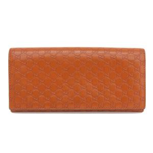 Genuine GUCCI Gucci Micro GG Sima Leather Long Bi-Fold Wallet Orange 233154 Purse