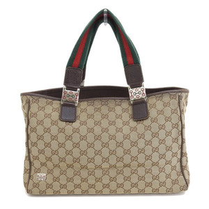 Genuine GUCCI Gucci GG Canvas Tote Bag Brown Silver Bracket Leather