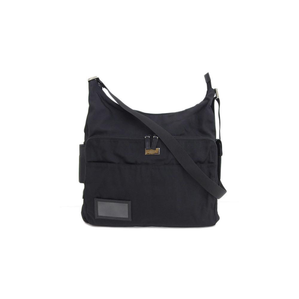 bf0da5240b3 Genuine GUCCI Gucci nylon canvas shoulder bag black silver bracket leather