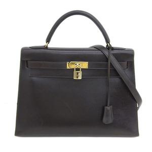 Genuine HERMES Hermes Bock Scarf Kerry 32 Chocolat G Bracket Bag Leather