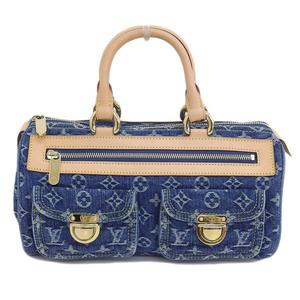 Genuine LOUIS VUITTON Louis Vuitton Monogram Denim Neo Speedy Blue Bag Leather