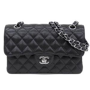 Genuine CHANEL Chanel Matrasse W flap shoulder bag caviar skin silver hardware black 19 stand leather