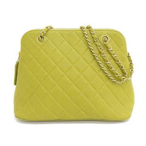 Genuine CHANEL Chanel caviar chain shoulder yellow green 4 stand bag leather