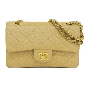 Genuine CHANEL Chanel Lambskin W / Matrasse Shoulder Bag Beige Gold Hardware 2nd Leather