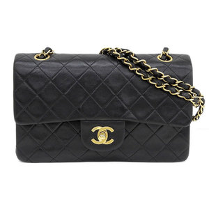 Genuine CHANEL Chanel W Flap Matras Lambskin Black Gold Hardware Bag Leather