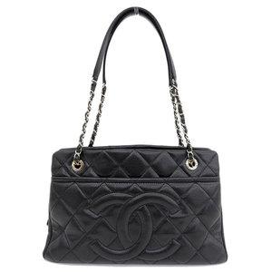 Genuine CHANEL Chanel caviar chain tote bag black 17 stand leather